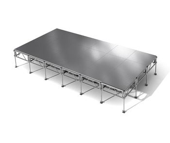 288 Square Foot Stage - 12 foot x 24 foot stage system (18 pcs. of 4'x4' weather proof aluminum platforms)