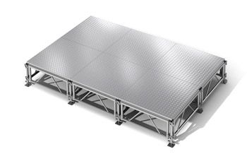 96 Square Foot Stage - 12 foot x 8 foot stage system (6 pcs. of 4'x4' weather proof aluminum platforms)